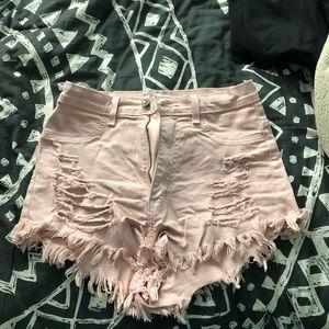 Pants - Pink jean shorts